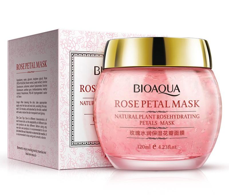 Ночная увлажняющая маска для лица с экстрактом розы BioAqua Rose Petal Mask (НЕМНОГО ЗАМЯТА КОРОБОЧКА)!