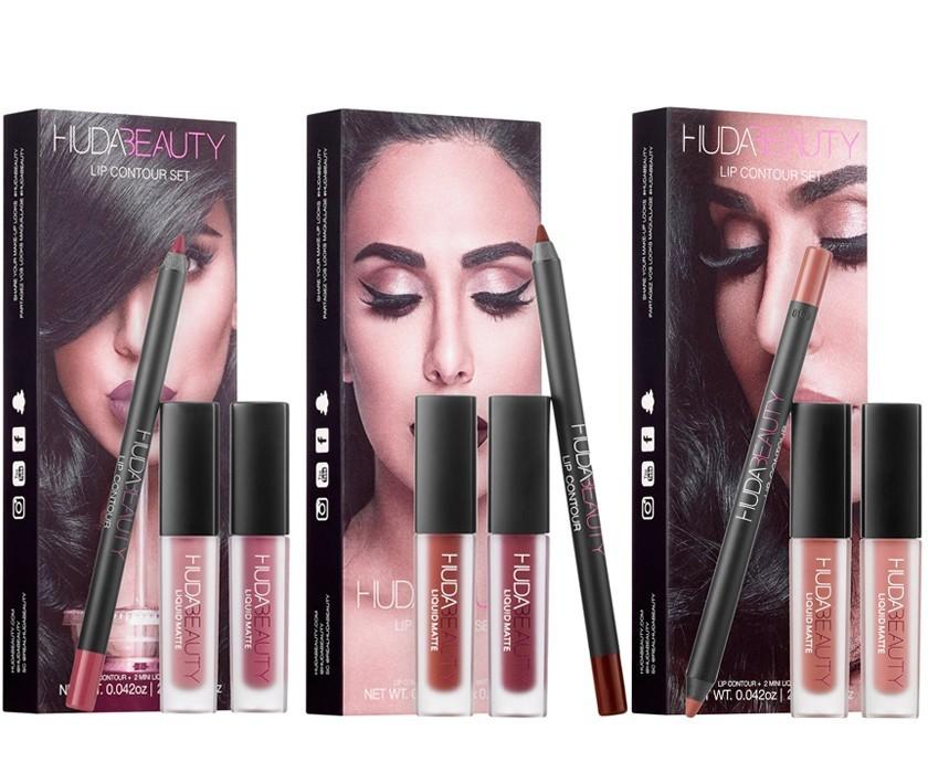 Набор Huda Beauty Lip Contour Set 2 мини-помады + Карандаш