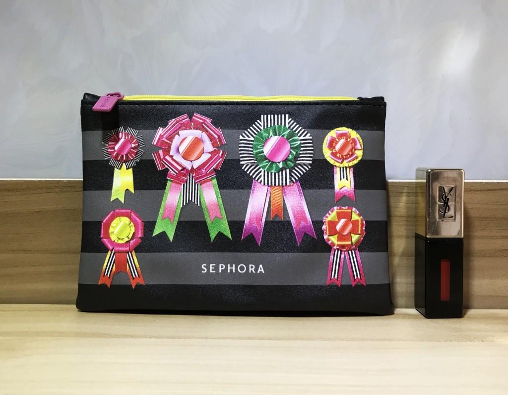 Косметичка Sephora (в полоску с бантами). Кожзам.