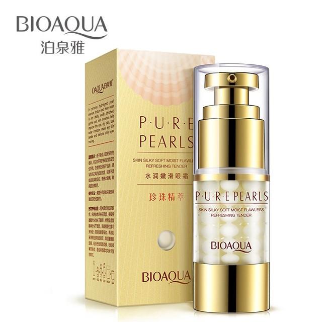 Увлажняющий антивозрастной крем для глазс натуральной жемчужной пудройBioAqua Pure Pearls, 35мл.