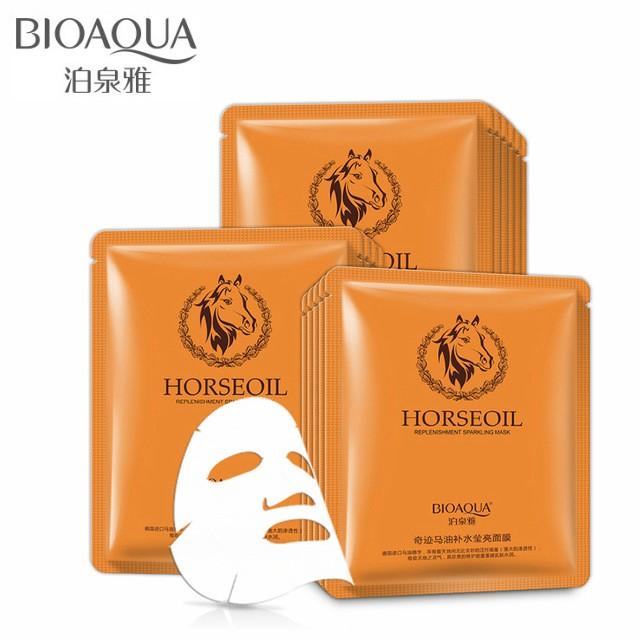 Тканевая маска с лошадиным жиром Horse Oil Replenishment Sparkling Mask BIOAQUA