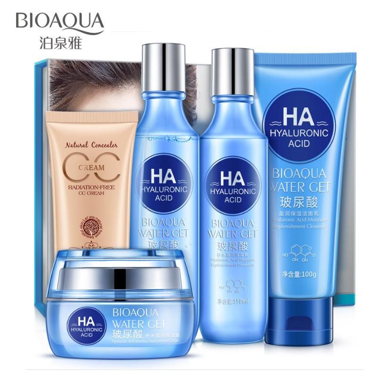 Набор из 5 средств на основе гиалуроновой кислоты в подарочной коробке Bioaqua Water Get HA