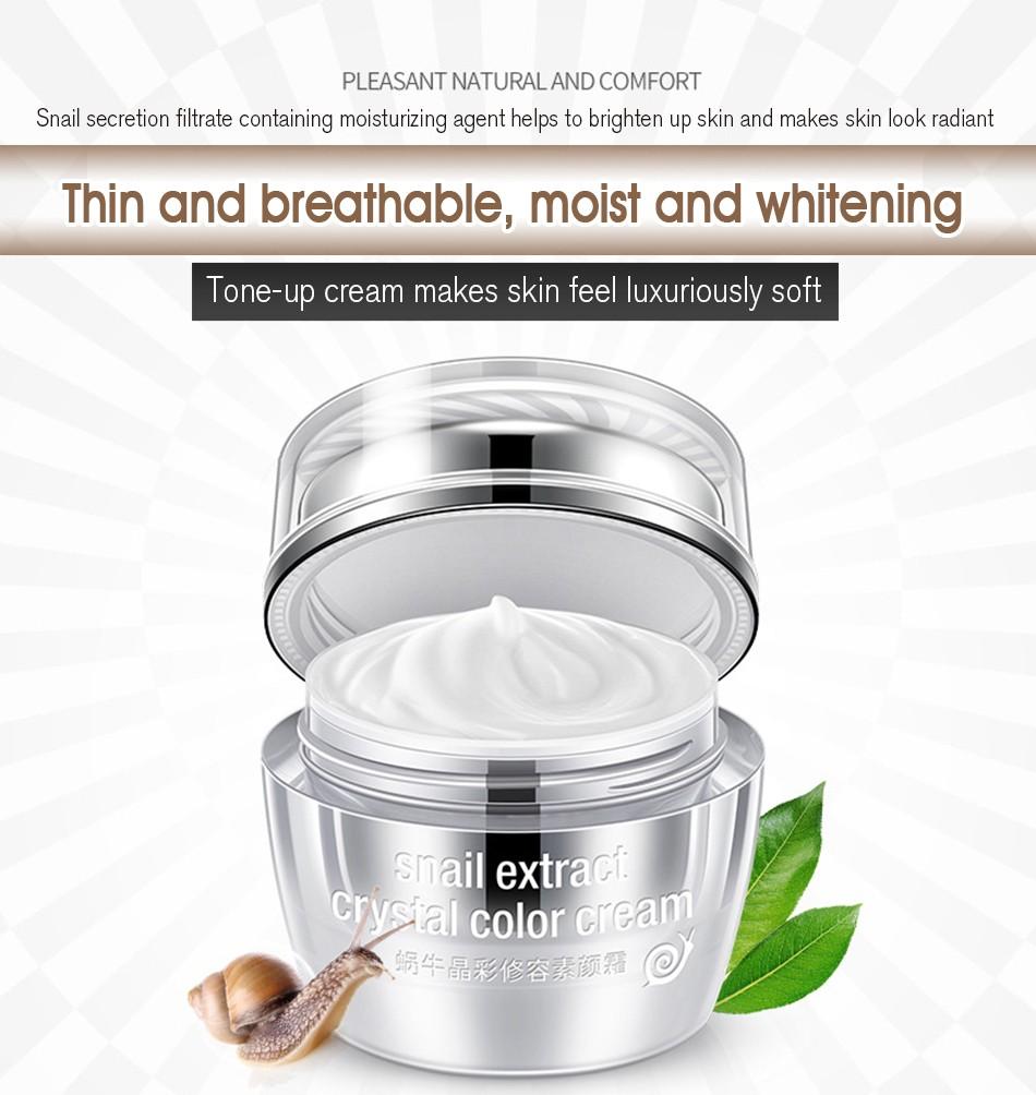 Кристальная основа под макияж с экстрактом улитки Rorec Snail Extract Crystal Color Cream