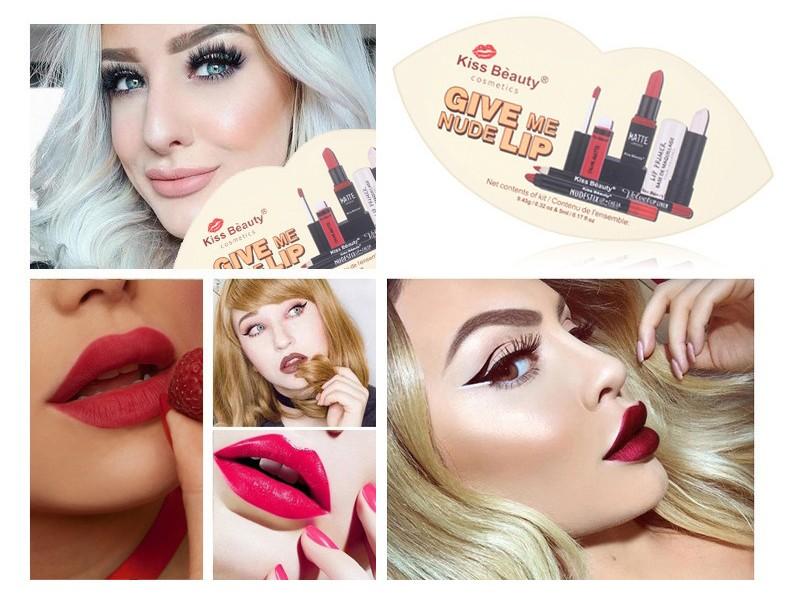 Подарочный косметический набор для губ GIVE ME NUDE LIP Kiss Beauty