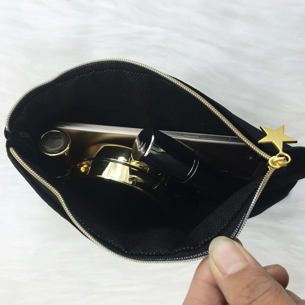 Косметичка Loreal бархатная с золотыми пайетками, 21*13 см.