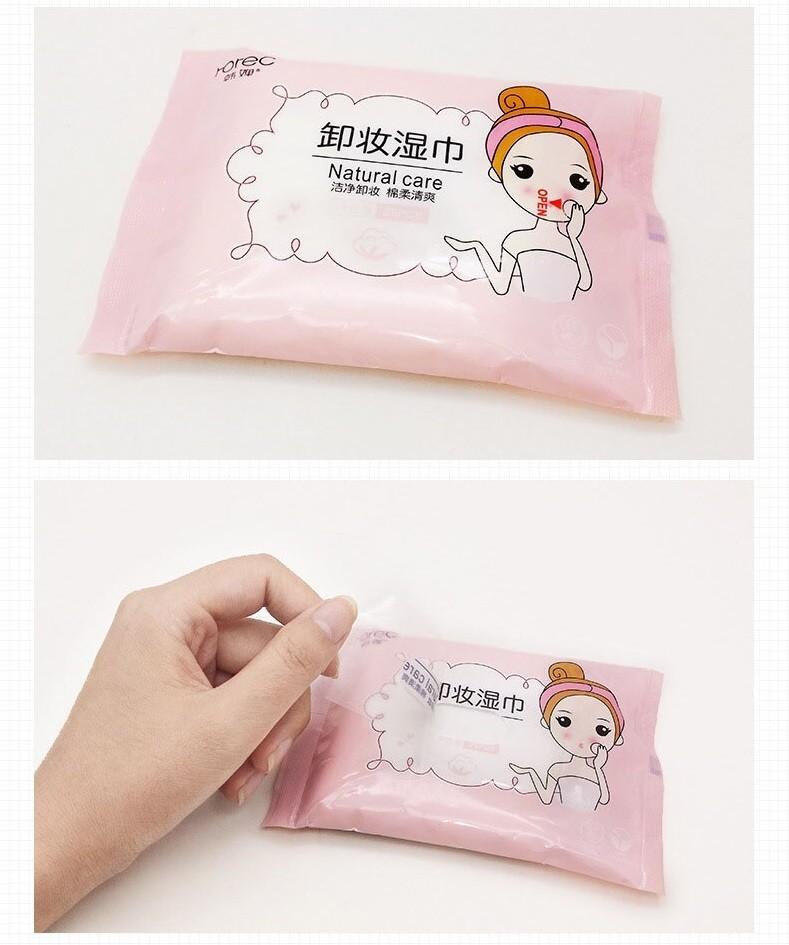 Влажные салфетки для снятия макияжа с портулаком и морскими водорослями Rorec, 25 шт. (Розовая пачка)