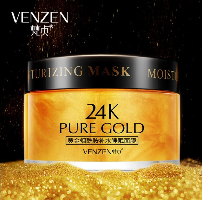 Несмываемая ночная маска с ниацинамидом и нано-золотом Venzen 24K Pure Gold Mask, 120 гр.