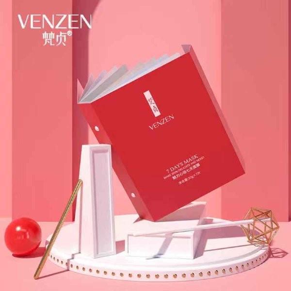 Набор-книжка недельный курс тканевых масок для лица Venzen - 7 масок.