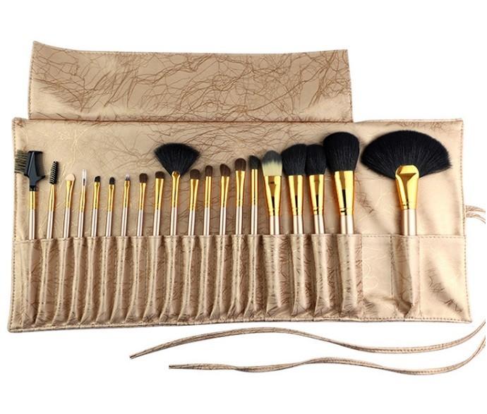 Набор кистей для макияжа Happy Make up 20 шт. Качество люкс. ЦВЕТ БЕЖЕВО-ЗОЛОТОЙ