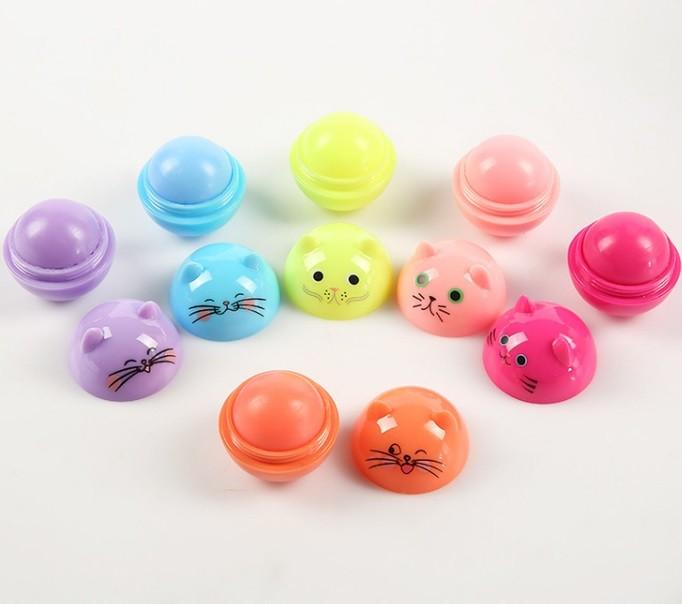 Бальзам для губ Котики круглые, без цвета с фруктовыми ароматами