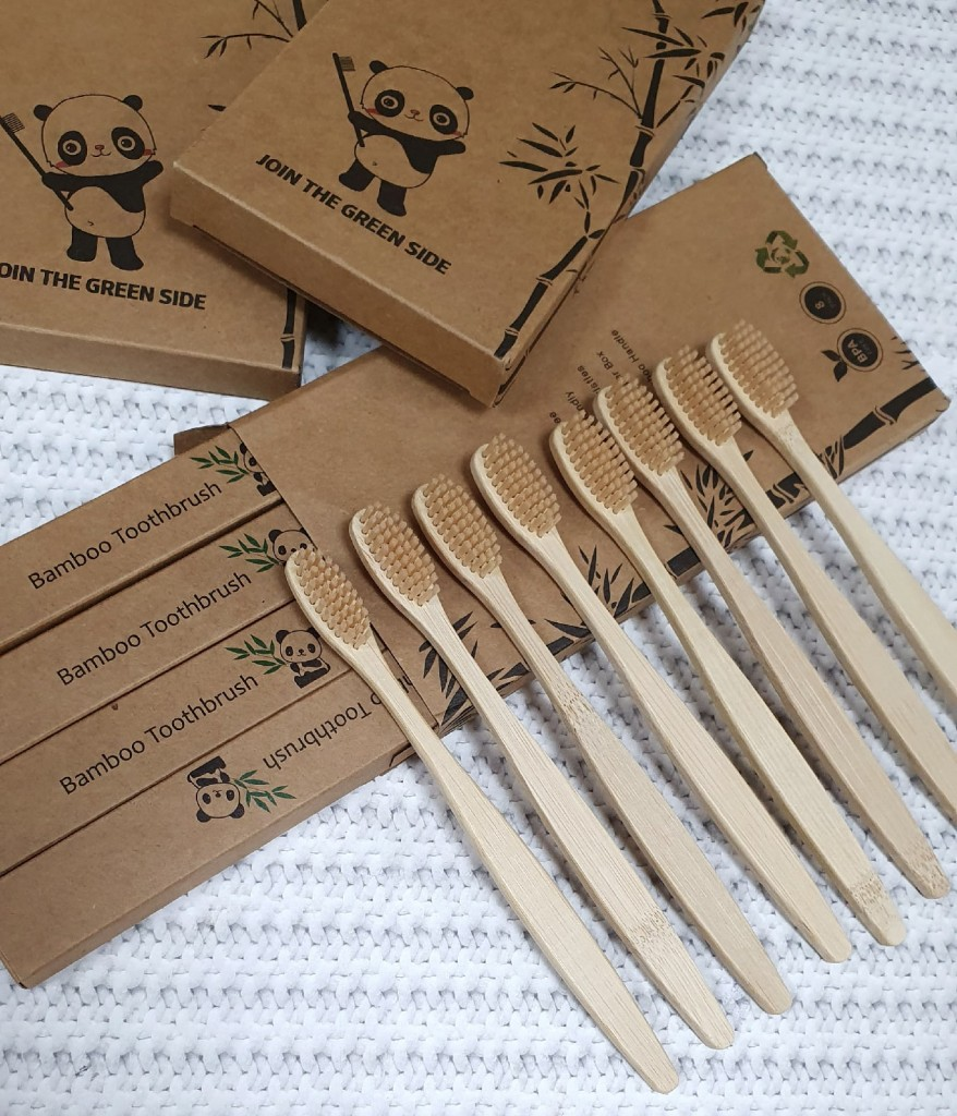 Набор бамбуковых зубных щеток средней жесткости 8 шт. Bamboo Toothbrush