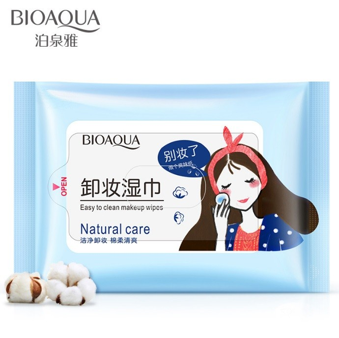 Влажные салфетки для снятия макияжа BIOAQUA Easy To Clean Makeup Wipes, 25 шт. (Голубая пачка)